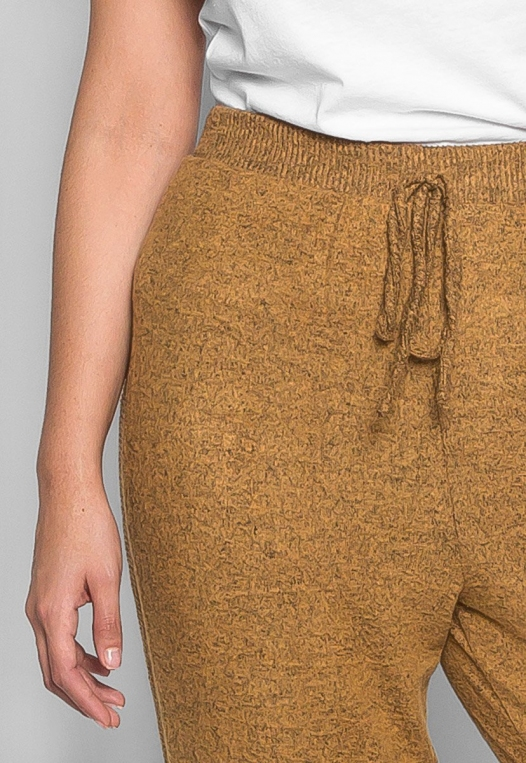 Plus Size Confetti Ribbed Side Joggers in Mustard alternate img #6