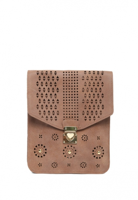 Perforated Nubuck Crossbody Bag in Brown alternate img #1