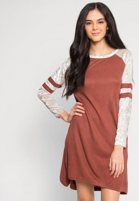 Catcher Varsity Velvet Dress in Wine alternate img #5