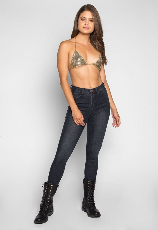 So Cool Chainmail Bralette in Gold alternate img #4