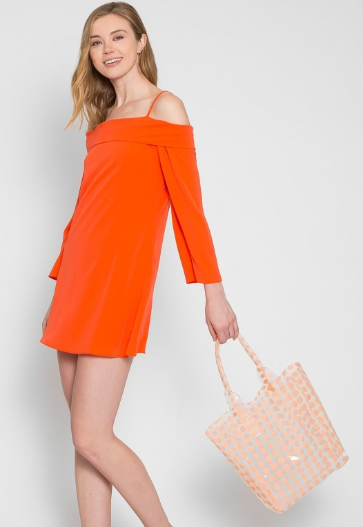Printed Transparent Tote in Coral alternate img #4