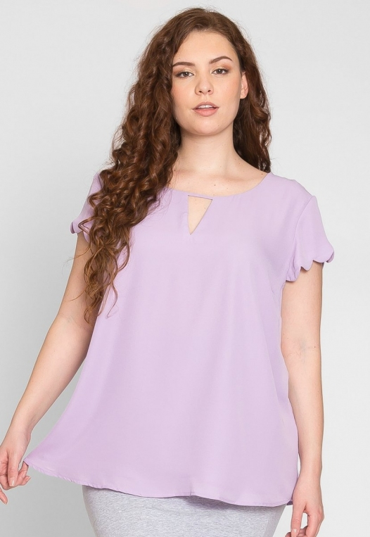 Plus Size Clouds Scallop Edge Top in Lavender alternate img #1