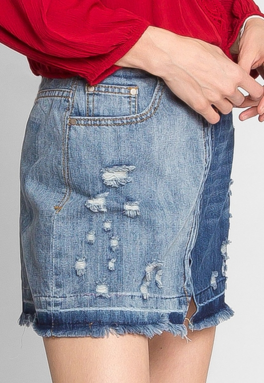 Whip It Distressed Denim Skirt alternate img #4