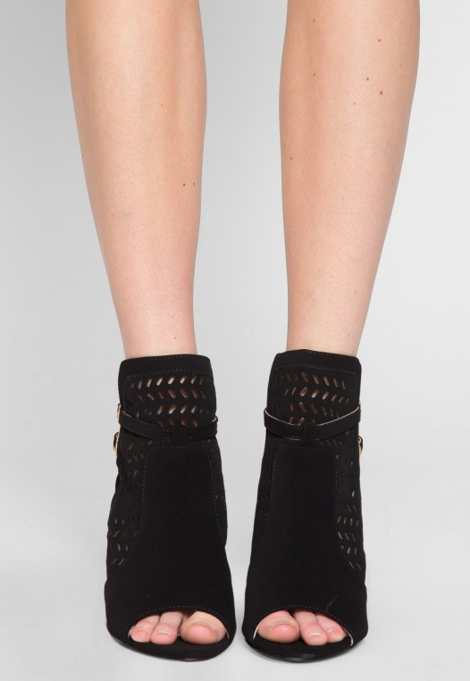 Kai Laser Cut Ankle Boots in Black alternate img #2