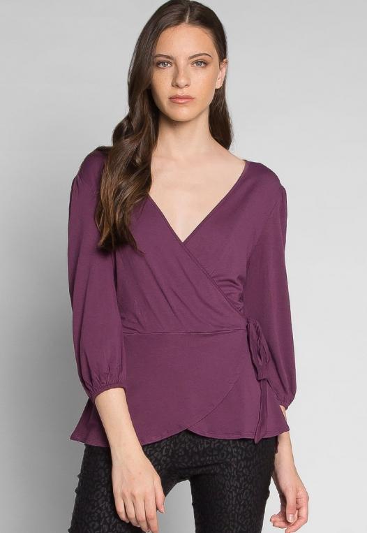 Peony Self Tie Wrap Blouse in Purple alternate img #1