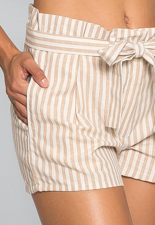 Cappuccino Stripe Paper Waist Shorts alternate img #6