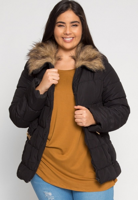 Plus Size Luxurious Faux Fur Trim Jacket in Black alternate img #2