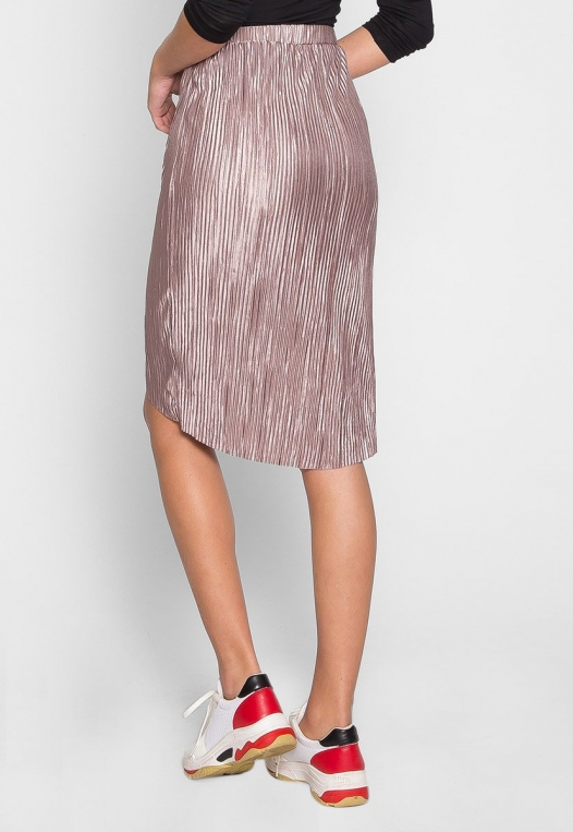 Metallic Pleated Tulip Skirt in Lavender alternate img #2