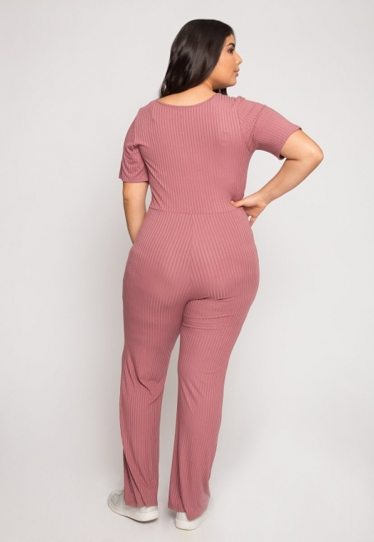 Plus Size Knit Jumpsuit in Pink alternate img #3