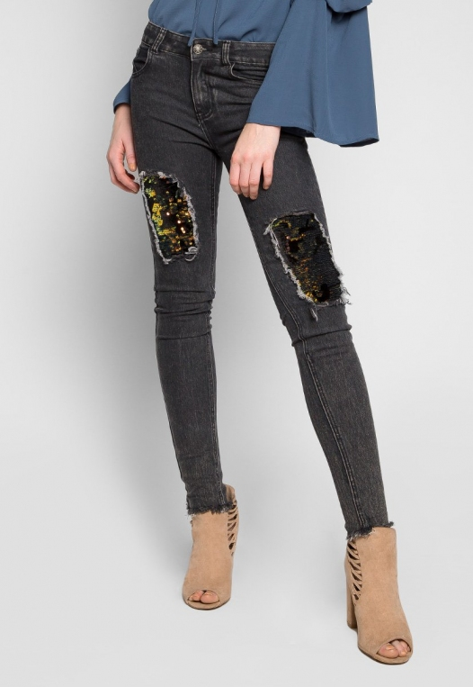 Bittersweet Sequin Insert Skinny Jeans in Black alternate img #1
