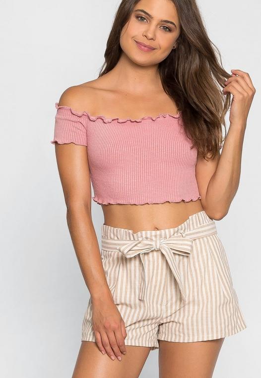 Cappuccino Stripe Paper Waist Shorts alternate img #1