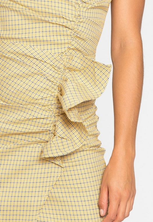 Natural Gingham Ruched Dress in Yellow alternate img #8