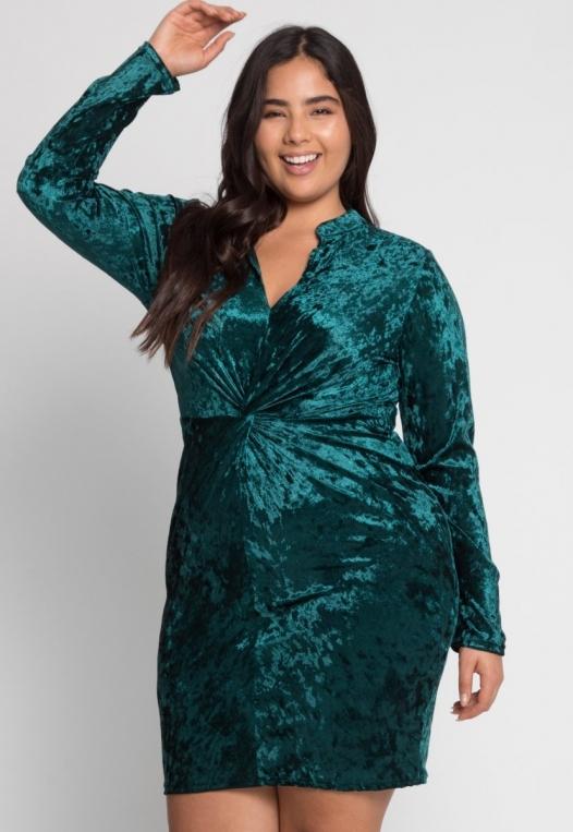 Plus Size Wild Velvet Party Dress in Green alternate img #1