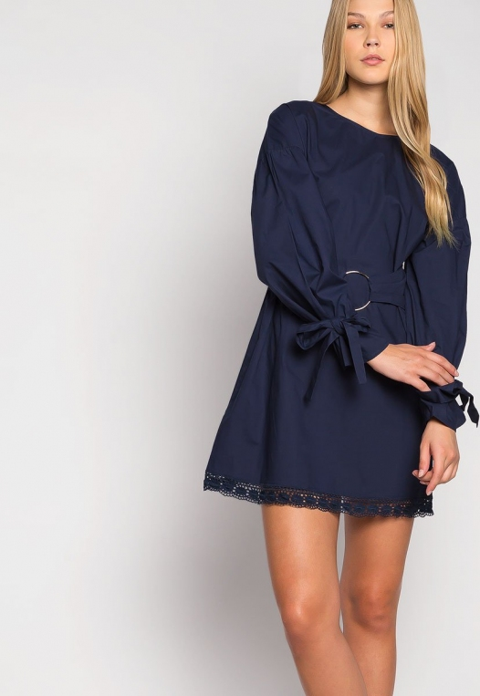 Under the Moonlight Crochet Hem Belted Dress alternate img #5