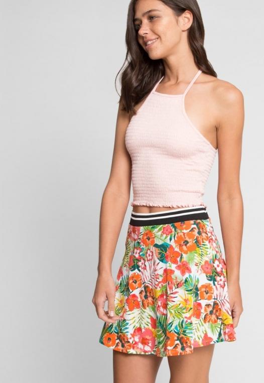 Halfmoon Tropic Print Flare Skirt alternate img #2