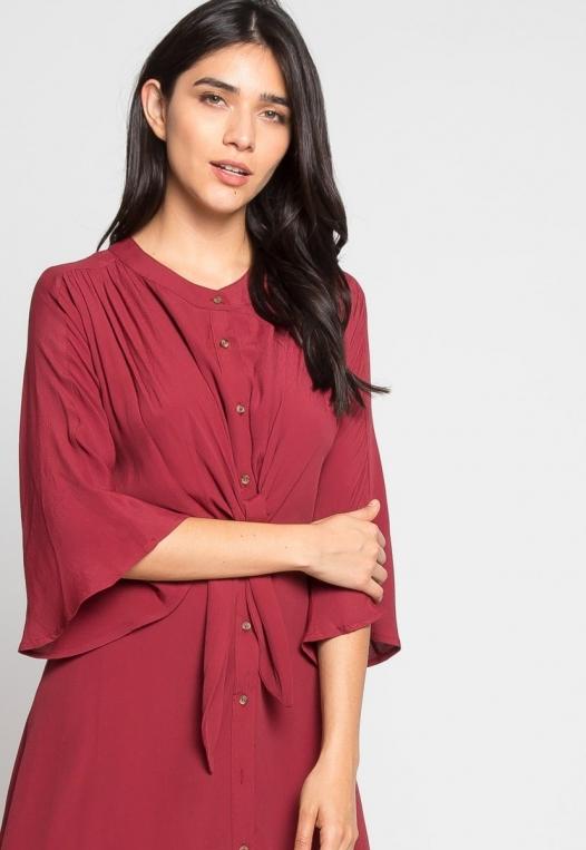 Memories Shirt Dress in Wine alternate img #5