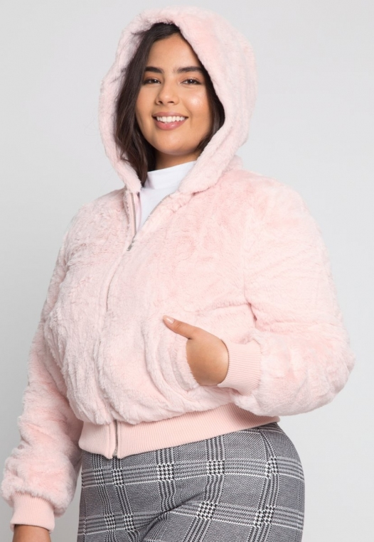 Plus Size Aspen Plush Crop Bomber Jacket alternate img #2