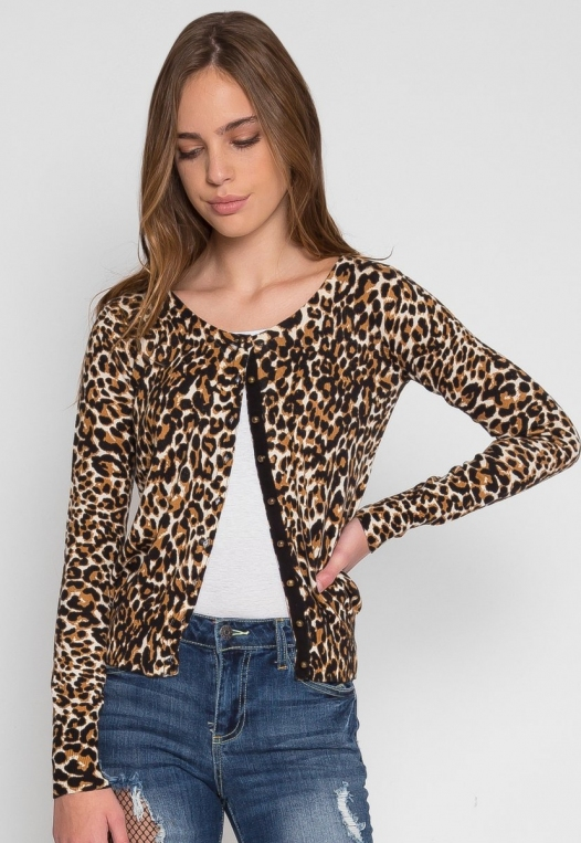 Wild Side Cardigan in Brown Leopard alternate img #3