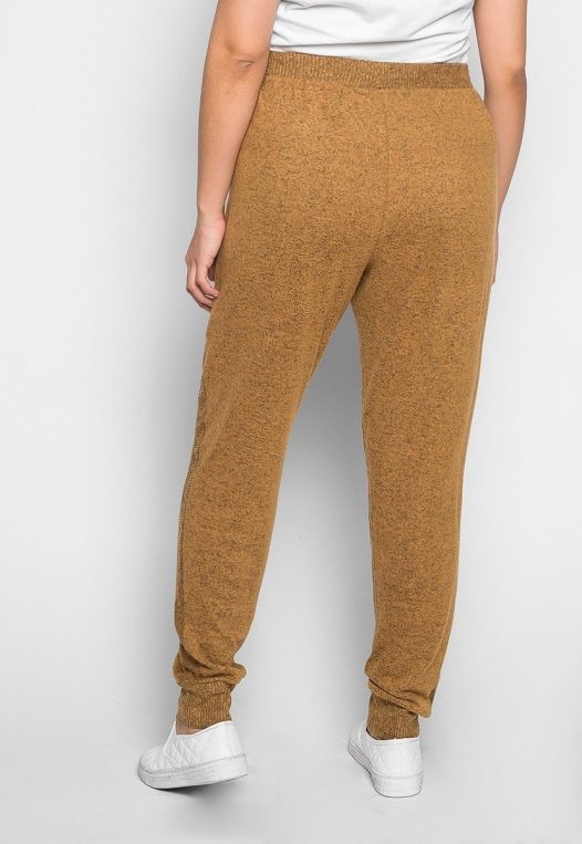 Plus Size Confetti Ribbed Side Joggers in Mustard alternate img #2
