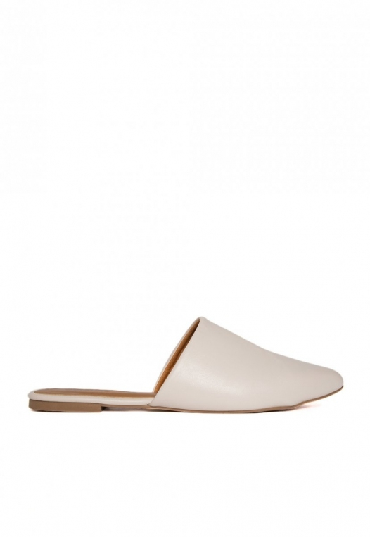 Faux Leather Mule Flats in Gray alternate img #1