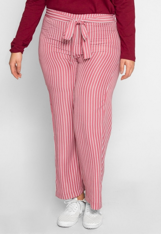 Plus Size Quest Stripe Palazzo Pants in Pink alternate img #1