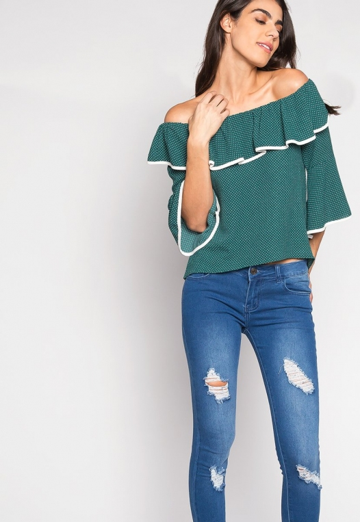 Girl Power Contrast Piping Off Shoulder Blouse alternate img #4