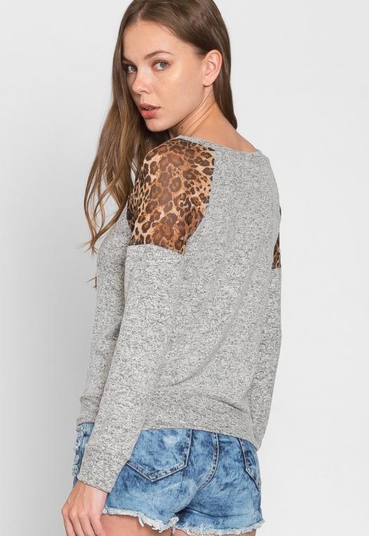 Mystery Leopard Insert Sweater alternate img #4