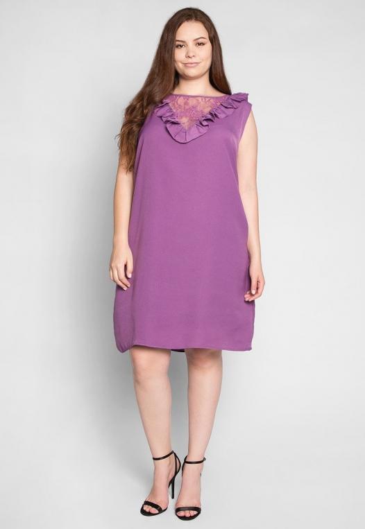 Plus Size Lavender Fields Ruffle Mini Dress in Purple alternate img #4