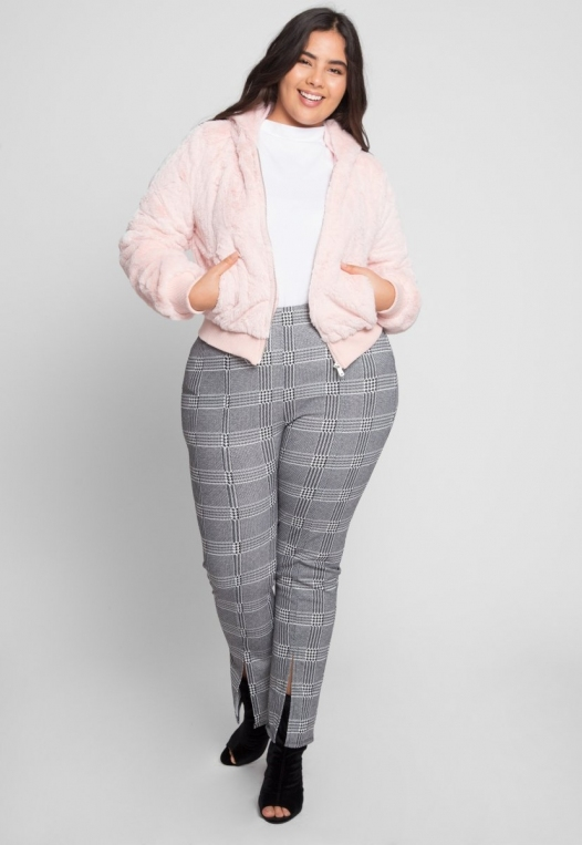 Plus Size Aspen Plush Crop Bomber Jacket alternate img #4