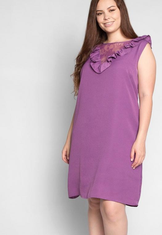 Plus Size Lavender Fields Ruffle Mini Dress in Purple alternate img #5