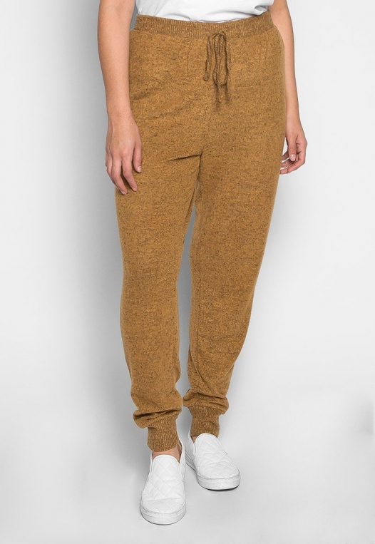 Plus Size Confetti Ribbed Side Joggers in Mustard alternate img #3