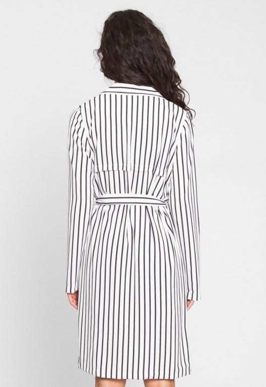 Over You Stripe Longline Blazer in White alternate img #2