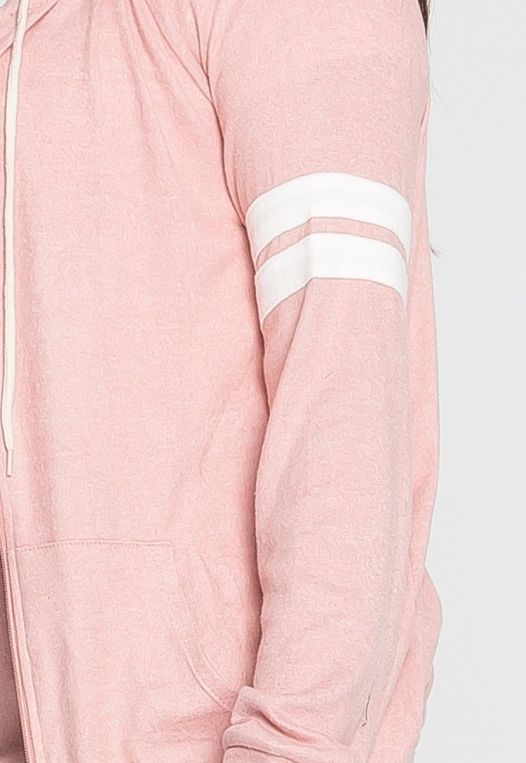 Plus Size Touchdown Zip Up Hoodie in Pink alternate img #6