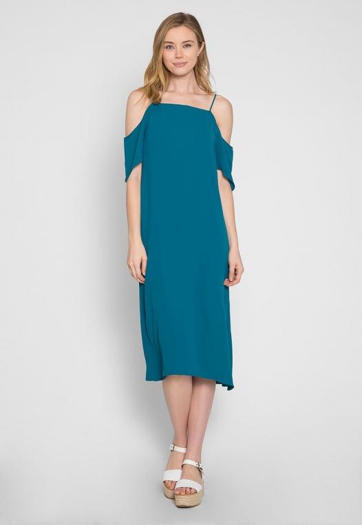 Reveal Cold Shoulder Maxi Dress in Teal alternate img #4
