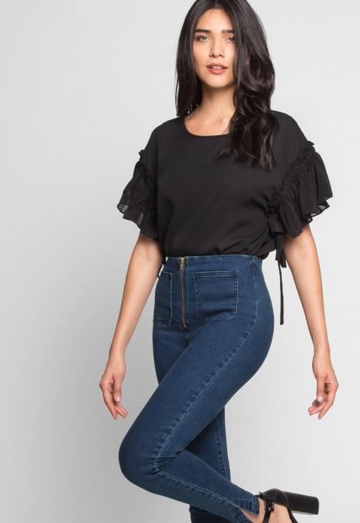 High Waist Zipper Front Skinny Jeans alternate img #5