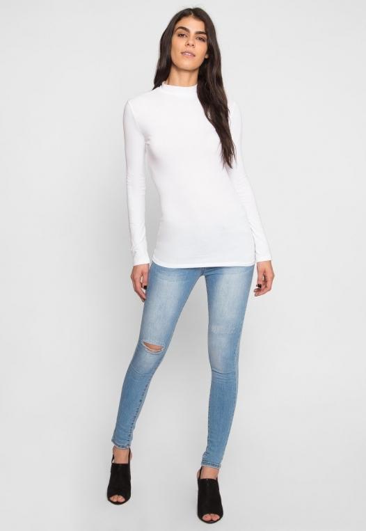 Sue Mock Neck Long Sleeve Top in White alternate img #4