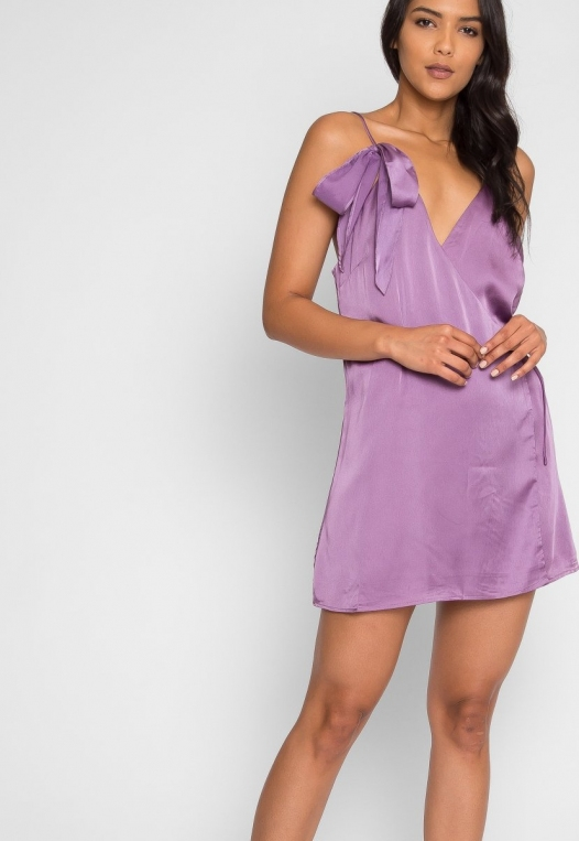 Saturn Mini Wrap Dress in Mauve alternate img #5