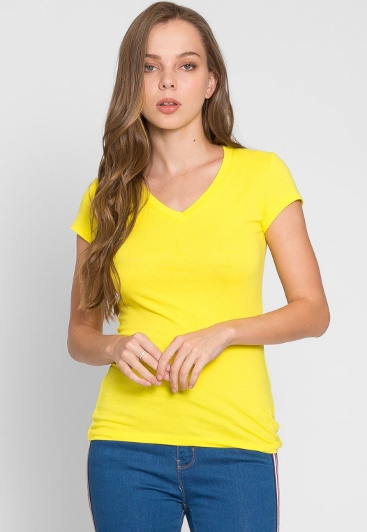 Chill V-Neck Basic Tee in Yellow alternate img #1