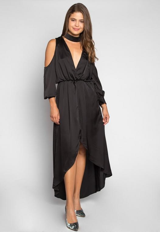 Always & Forever Satin Maxi Dress in Black alternate img #3