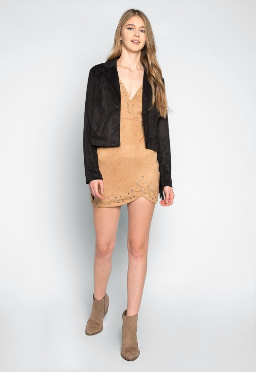 West Coast Fringe Faux Suede Jacket alternate img #4