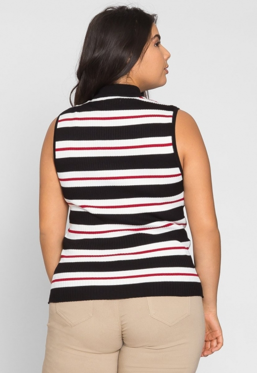 Plus Size Charger Knit Stripe Top in Red alternate img #2
