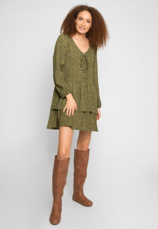 Pine Tiered Floral Dress in Olive alternate img #4