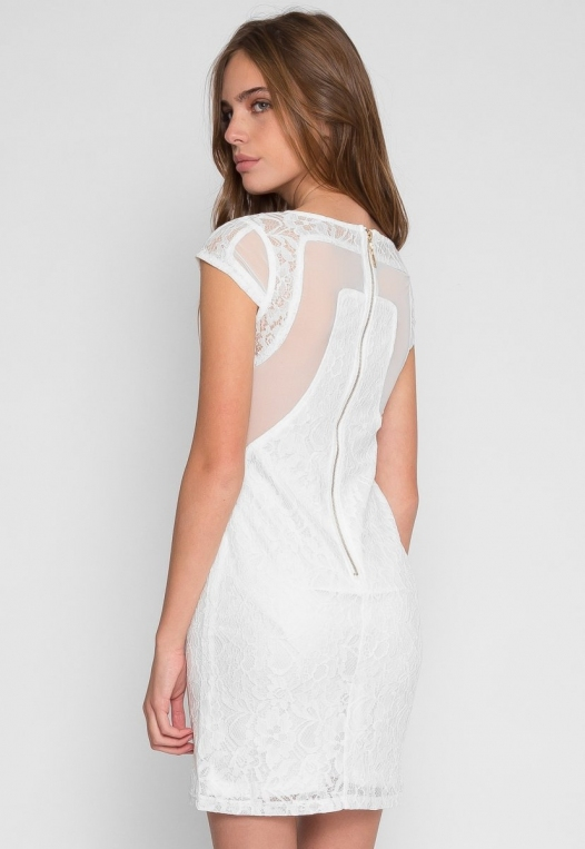 Roe Lace Bodycon Dress in White alternate img #3
