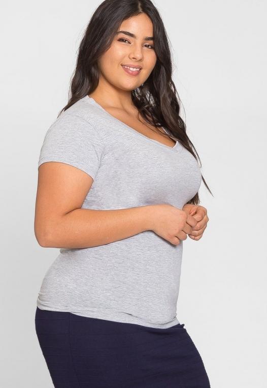 Plus Size Cora V-Neck Tee in Gray alternate img #2