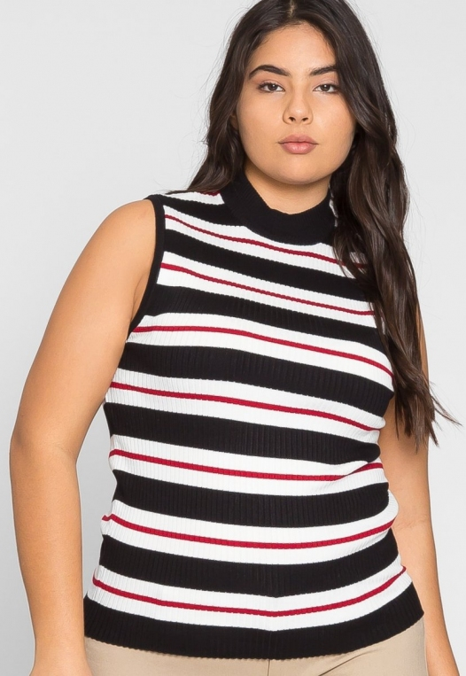 Plus Size Charger Knit Stripe Top in Red alternate img #5