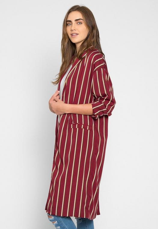 Rumors Longline Stripe Kimono in Wine alternate img #3