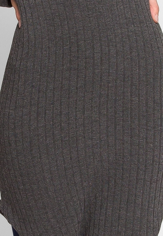 Ashton Ribbed Bodycon Dress in Charcoal alternate img #6
