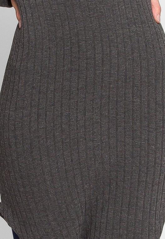 Ashton Ribbed Bodycon Dress in Charcoal alternate img #6