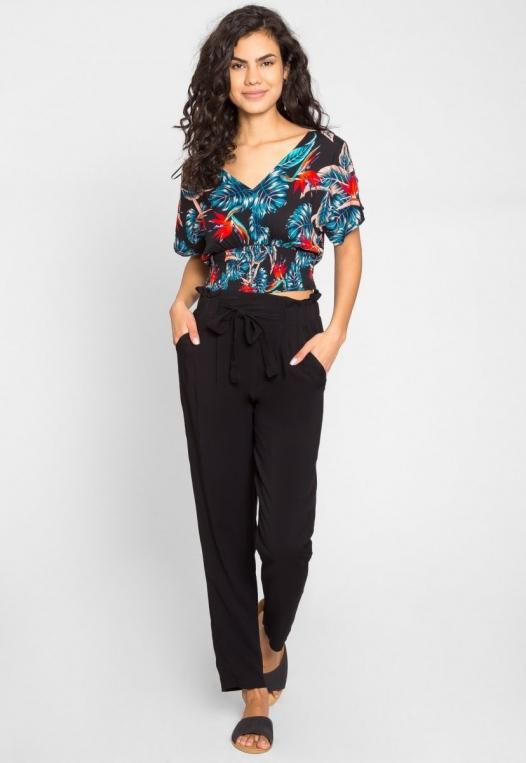 Joy High Waist Rayon Pants in Black alternate img #1