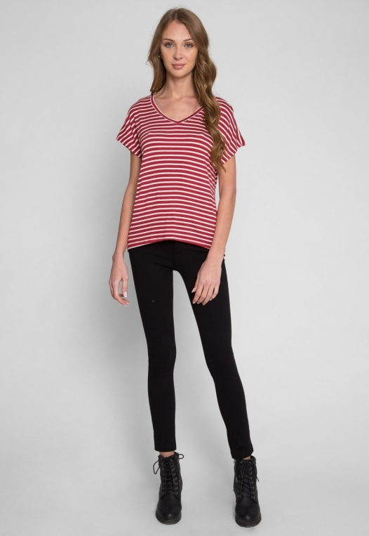 Boardwalk Games Stripe V-Neck Tee in Red alternate img #4